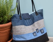 upcycled denim large carry-all bag, vegan handbag, denim tote