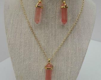 Coral Quartz Briolette Drop Statement Necklace and Earring Set