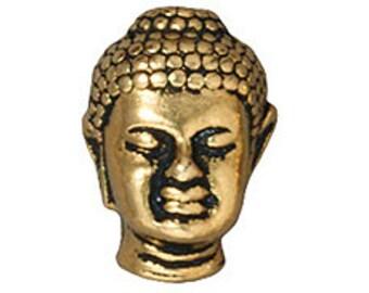 5 Pc Buddha Bead 13.5x10mm Antique Gold Finish Tierracast Large Hole Beads - P5718GA