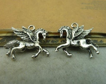 20pcs 19x22mm Antique Silver Flying Horse Charms Pendant, Antique Silver Pegasus Horse Charms Pendant