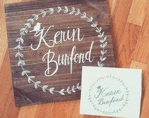 Wooden Logo Branding Sign, Logo Art, Custom Hand Painted Design, The Paper Walrus