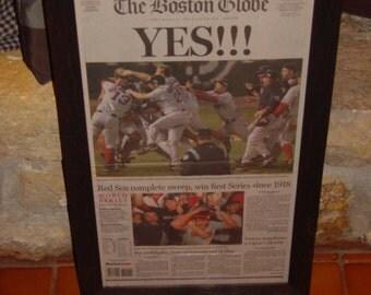 Rare 2004 Boston Red Sox original framed newspaper World Series Champions Victory Edition cedar dark finish