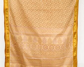 Vintage Indian Textile Crafting Fabric Drapery Printed Saree Sari   TP2868