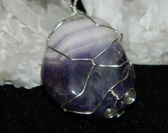 Banded Tumbled Purple Amethyst Pendant wire wrapped with Silver Wire with pink swarovski crystal elements.