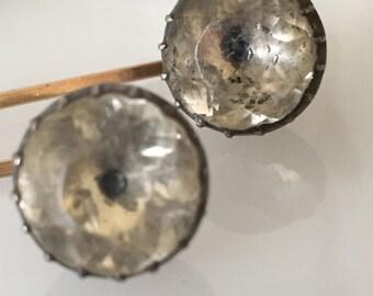 Georgian Foil Backed Black Dot Paste Stickpins Large   #CELESTEANDCOGEMS