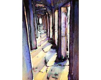 Fine art watercolor painting of exterior hallway at Khmer temple of Angkor Wat-  at Angkor Wat ruins near Siem Reap, Cambodia. Cambodia art