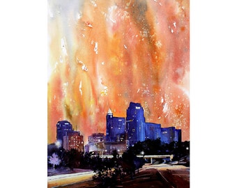 Downtown skyscrapers and buildings of Raleigh, NC  at sunset.  Raleigh art.  Raleigh painting.  Raleigh skyline watercolor painting wall art