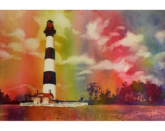 Painting of Bodie Island lighthouse- Outer Banks (OBX) of North Carolina- USA.  Lighthouse art painting.  Watercolor landscape art