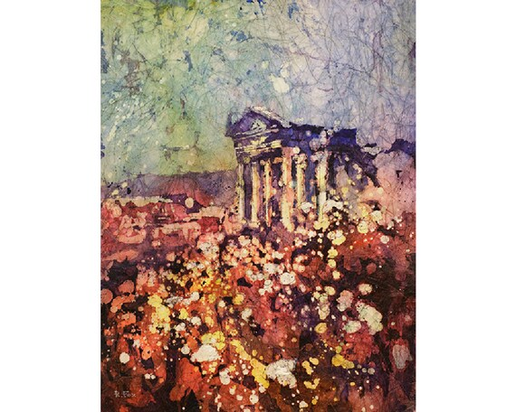 Watercolor batik painting on rice paper of ruined Roman temple at the ...