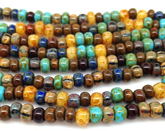2 Strands Mixed Caribbean Age Striped Picasso Czech Glass Seed Beads 2/0 3/0