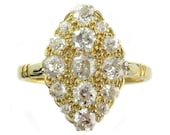 Antique Victorian Marquise Shaped Diamond Cluster Ring