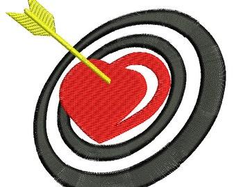 heart, target, arrow. - Machine Embroidery Design - three sizes