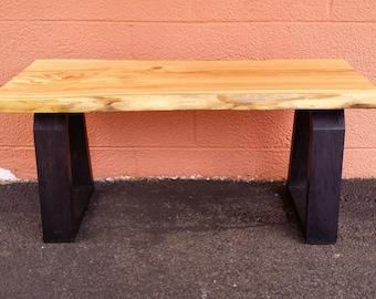 The Cumulonimbus - Honey Locust entryway live edge rustic sitting bench mock industrial UNIQUE living room bedroom