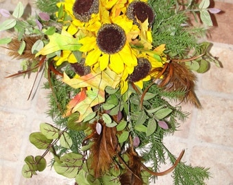 Indian Summer Rustic Fall Sunflowers Bridal October Wedding Bouquet And 13 Piece Package Reception Centerpieces Church