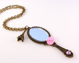 "Antique Bronze Rose Mirror Necklace Love Series ""Romantic Love"""