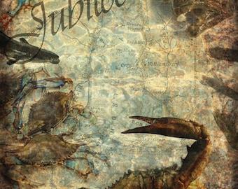 Pensacola beach collage vintage pensacola beach art print for Jubilee deep sea fishing