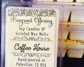 Scented Wax Melts - COFFEE HOUSE Scented Handmade 3 oz. Soy Wax Melt // scented wax tart // breakaway melts // scented w