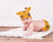 Crochet Newborn Baby Giraffe Photo Prop Outfit Costume, Baby Girl or Boy oufit, Newborn set, photography prop, cute
