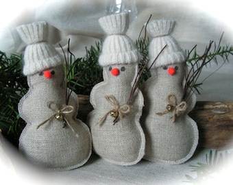Christmas Ornament - rustic decor  - snowmen - set of 3.