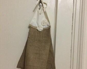 Natural Burlap Hanging Hand Towel Burlap And Muslin Hanging Hand Towel kitchen Or Bathroom Hand Hanging Towel
