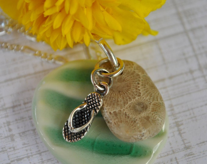 Petoskey Stone with teal ceramic pendant and flip flop charm, Michigan necklace, Up North