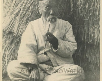 Old man smoking pipe antique art photo Korea