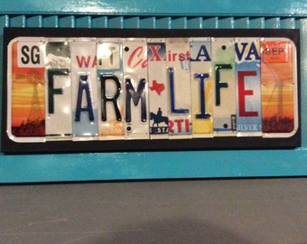 License Plate Sign License Plate letter Art Picture Home Deco FARM LIFE License Plate Letter Sign, License Plate Art