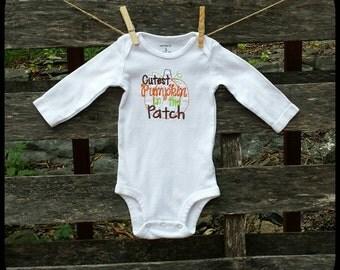 Halloween Onesie, Embroidered Baby Bodysuit, Embroidered Onesie, Embroidered Bodysuit, Embroidery, Thanksgiving Onesie, Pumpkin Onesie