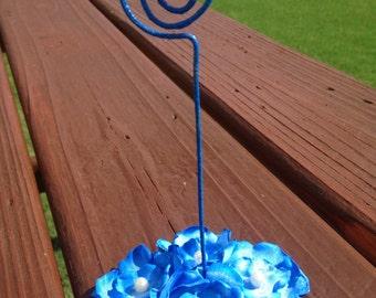 Blue Satin Flower Wedding Table Numbers, Wedding Table Assignment, Flower Wedding Table Cards