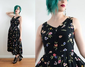 90s Black Floral Sun Dress Button Front Midi Shirtwaist Sleeveless V Neck Butterfly Print Boho Normcore // Xs Small