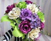 Sheet music bridal bouquet in shades of purple, ivory and green-wedding paper bouquet-sheet music theme
