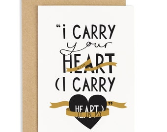 I carry Your Heart Card - Anniversary Card - Valentines Card - CC66