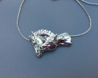 """Sterling Silver nuzzling horses pendant and sterling18""""  snake chain.  Authentic original design Zimmer"""