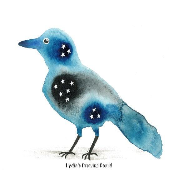 Starling, Bird, Bird Art Print, Bird Artwork, Stars, Spirit Animal, Blue Bird, Blue Bird Painting, Blue Bird Print, Spiritual Art, Nature