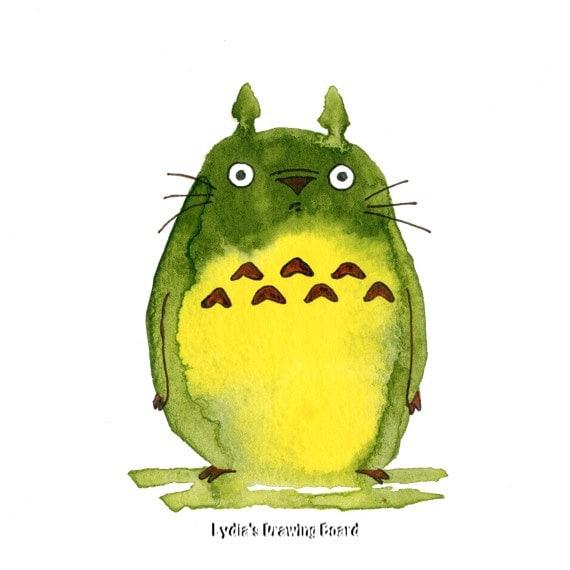 Totoro, Totoro Art, My Neighbor Totoro, Miyazaki, Hayao Miyazaki, Fan Art, Anime, Note Cards, Greeting Cards, Blank Cards, Blank Notecards
