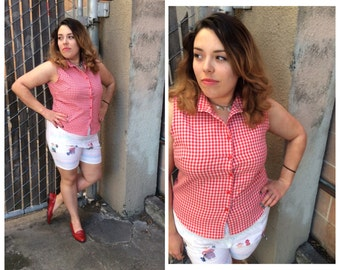 Red & white Gingham button down Tank with collar + Hipster + Classic + Picnic