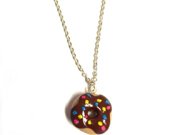 Polymer clay Necklace - Donut with chocolate glaze and sprinkles