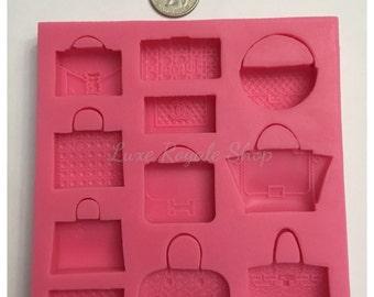 Designer handbag silicone fondant molds for cupcakes and cakes (soap, fondant, chocolate, mold, etc)