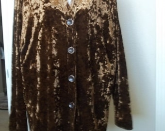 SALE!! Vintage brown 1980s velour blouse for holiday parties