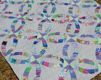 modern wedding ring quilt 56x76 inches modern bed quilt floral bed quilt large - Wedding Ring Quilt