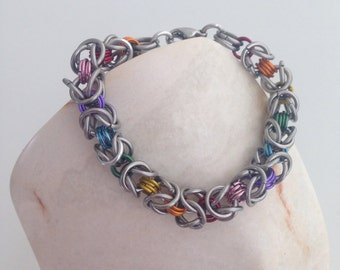 Chainmail bracelet, bright and fun kids rainbow chain mail byzantine bracelet , bright anodized aluminum chainmaille jewelry made by misome