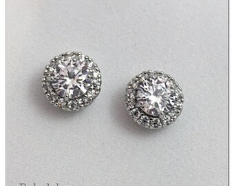 Pair of round CZ halo stud wedding plugs for gauged or stretched ears: Sizes 10g, 8g, 6g 4g 2g 4mm 5mm 6mm