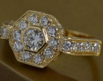 Art Deco-Inspired Hexagon-Shaped Diamond Ring (18K Yellow Gold)