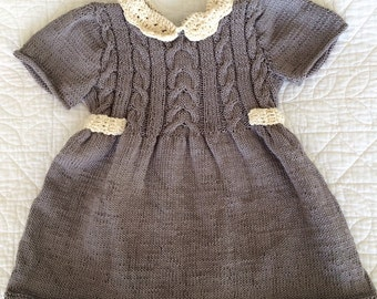 Girl dress, 100% cotton, Sizes newborn to 24 months, Hand knitted, gray and cream