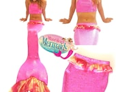 "The ""Pink Goddess"" Swimmable Mermaid Tail w/ Monofin & Matching Bikini Top"
