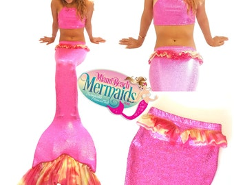"The ""Pink Goddess"" Swimmable Mermaid Tail w/ Monofin & Matching Bikini Top"