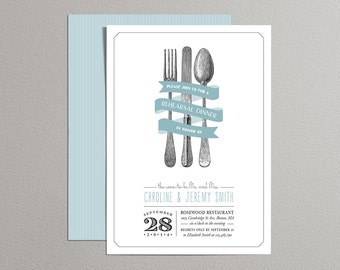 Cutlery Set Printable Wedding Rehearsal Dinner Invite, Casual Rehearsal Dinner Invite, Wedding Party Invitations - Custom Colors