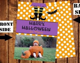 Halloween Photo Card, Happy Halloween Card, Halloween Greeting Card, Polka Dot, Orange and White, Witch Halloween Card, Bat Halloween Card