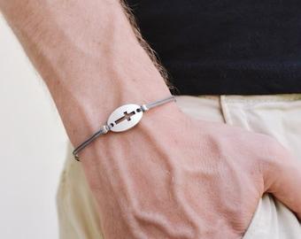 Cross bracelet for men, christian catholic jewelry, men's bracelet with a silver cross round charm, gray cord, gift for him, groomsmen gift