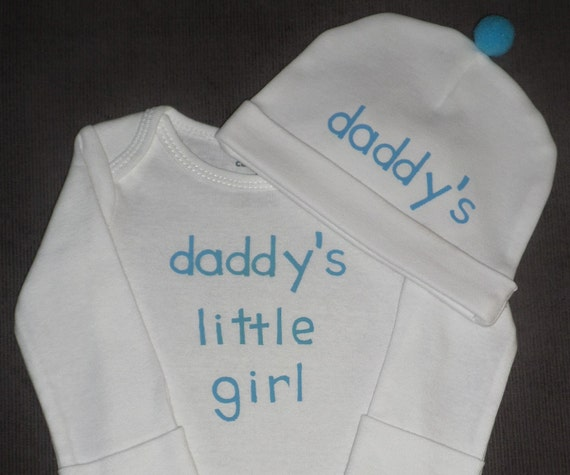 Daddy's Little Girl Bodysuit And Hat Gift Set For by ...